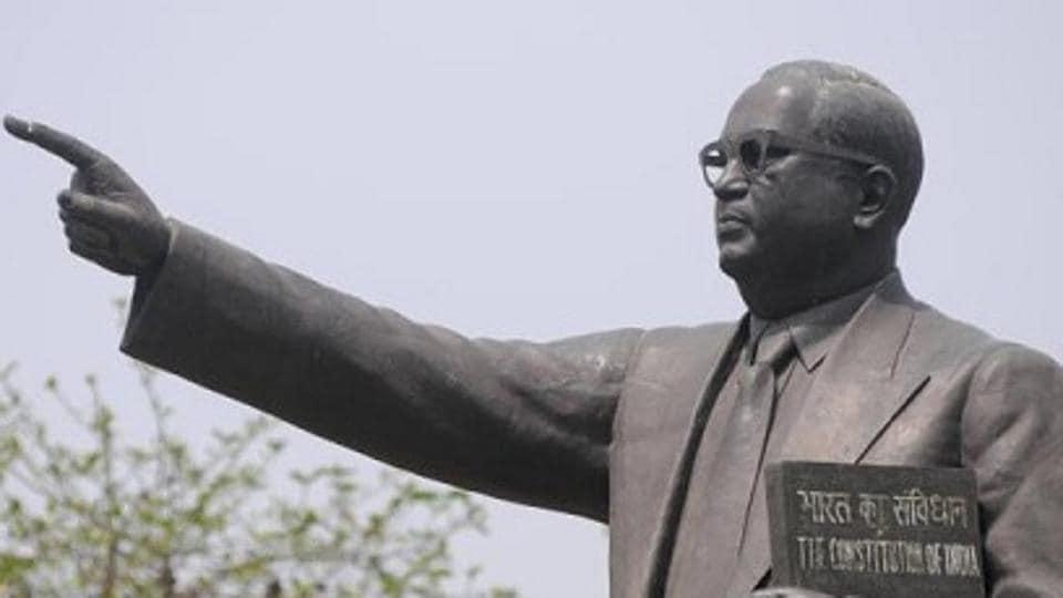 BR Ambedkar statue,Ambedkar statue damaged,Ambedkar statue partially vandalised.