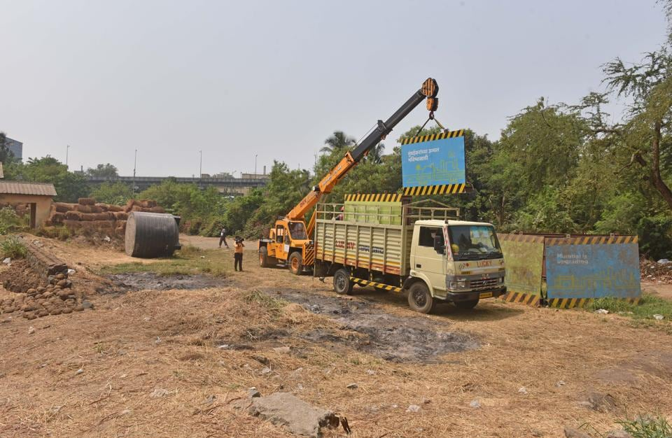 Work underway at Metro-3 site in Aarey colony.