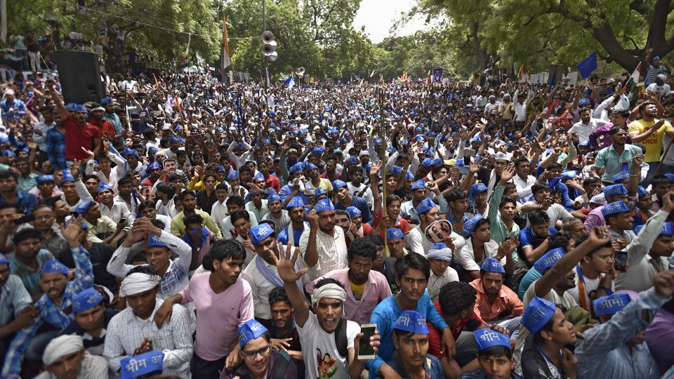 Dalits staged a protest at Jantar Mantar on Sunday against alleged atrocities towards their community in Saharanpur.