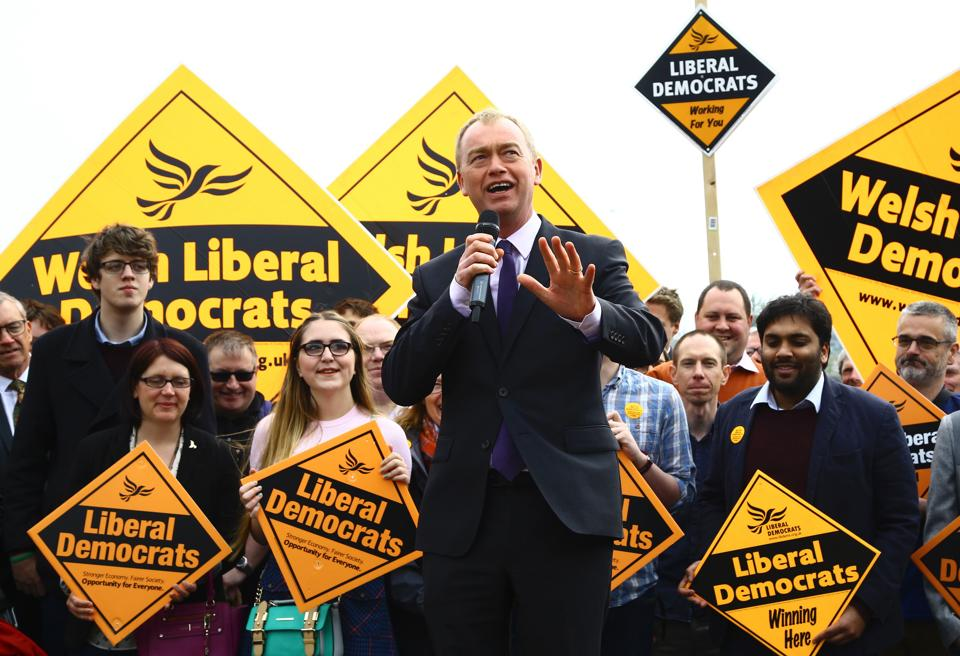 Britain's Liberal Democrats leader Tim Farron addresses supporters in Cardiff, south Wales.