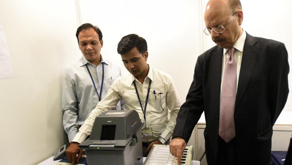 Chief election commission  Nasim Zaidi at a live demonstration of EVMs and VVPAT machines in New Delhi India on Saturday.