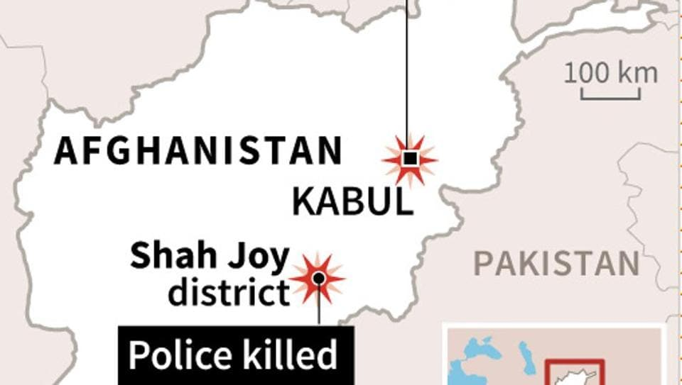 Map locating the latest gun attacks in Afghanistan in which at least 20 police and a German aid worker were killed.