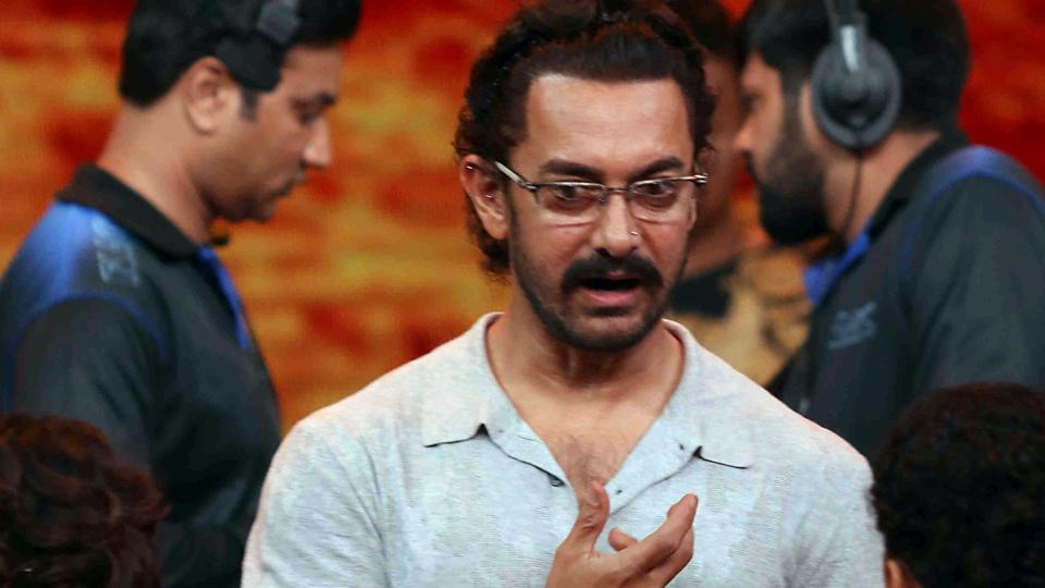 Aamir Khan during the television chat show Dangal Dangal Baat Chali Hai in Mumbai on May 20.