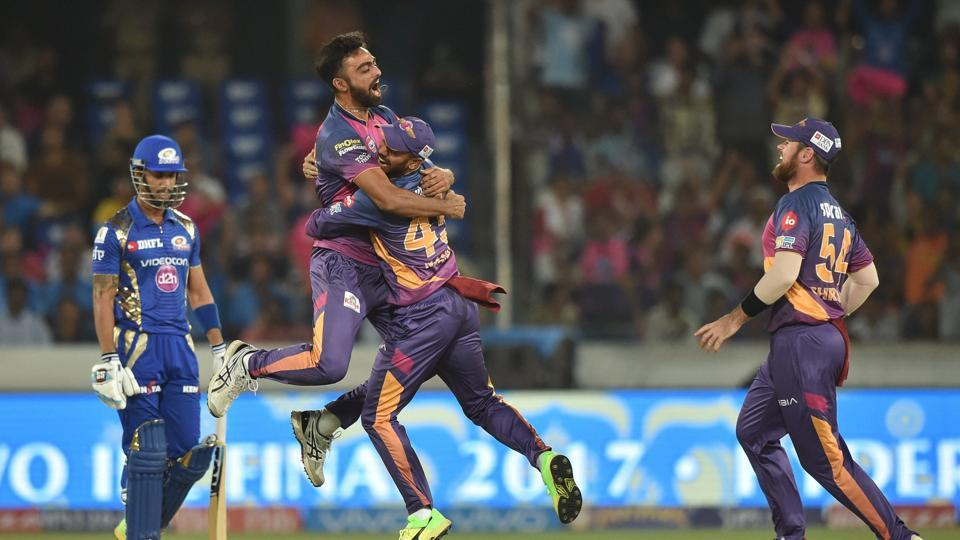 Rising Pune Supergiant's Jaydev Unadkat celebrates after dismissing Mumbai Indians' Lendl Simmons during the Indian Premier League (IPL) 2017 final.