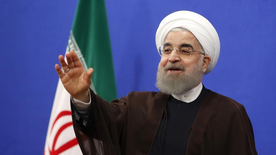 Newly re-elected Iranian President Hassan Rouhani gestures during a televised speech in the capital Tehran on May 20.