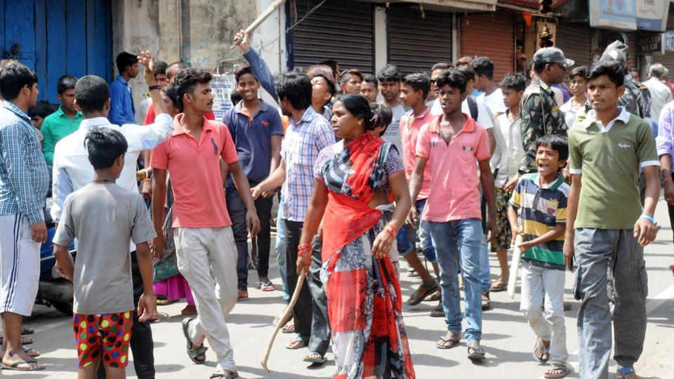 Locals protest lynching of seven people by a mob in Jamshedpur.