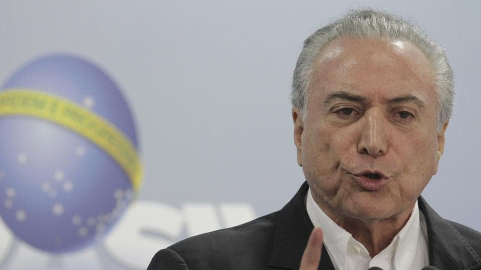 Brazil's President Michel Temer speaks during a national address from the Planalto Presidential Palace in Brasilia on Saturday.