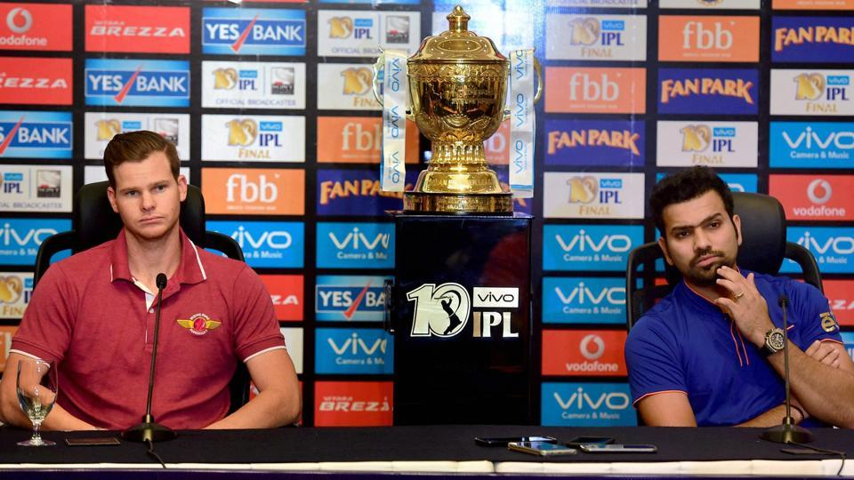 Mumbai Indians skipper Rohit Sharma (R)and Rising Pune Supergiant captain Steve Smith (L)addressed the media  on the eve of the IPL 2017 final in Hyderabad on Saturday.