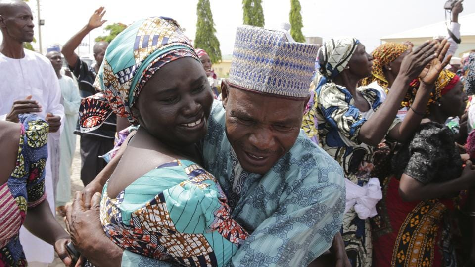The 82 Nigerian schoolgirls recently released after more than three years in Boko Haram captivity were finally reunited with their families on Saturday. (AFP)