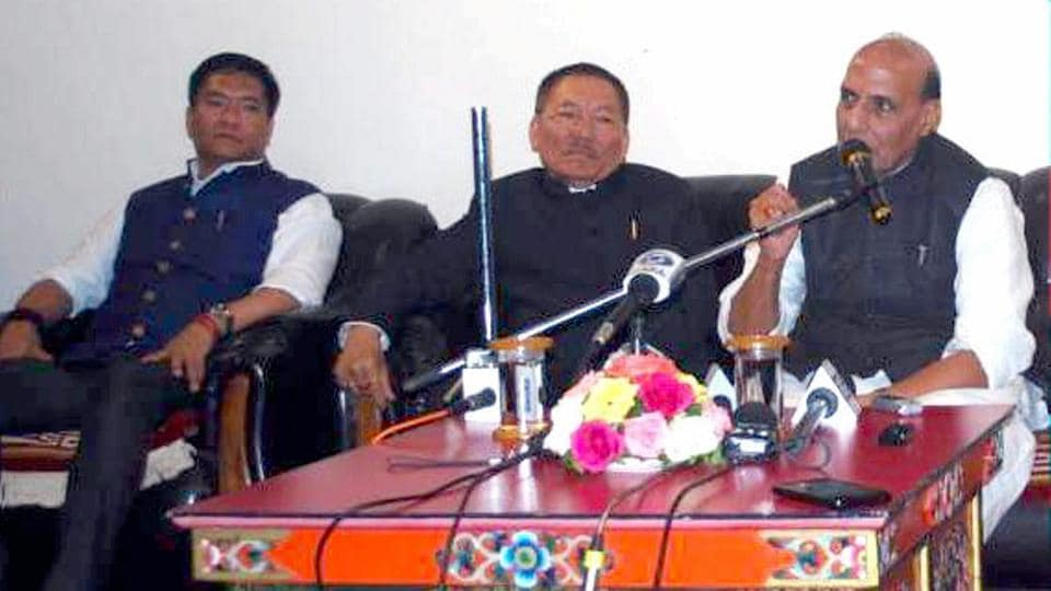 Union home minister Rajnath Singh addresses a press conference after chairing a review meeting of the chief ministers of five States on Indo-China Border Infrastructure and other issues, in Gangtok, Sikkim on Saturday.