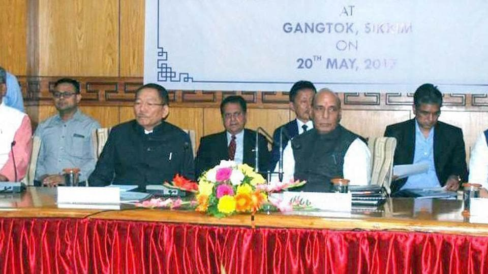 Union Home Minister Rajnath Singh chairs a review meeting of the Chief Ministers of five States on Indo-China Border Infrastructure and other issues, in Gangtok, Sikkim on Saturday.