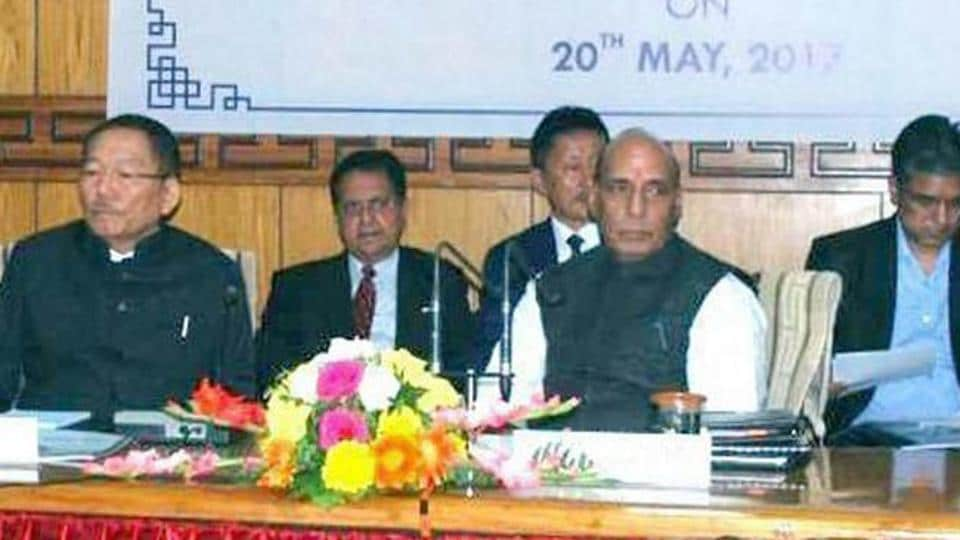 Union home minister Rajnath Singh chairs a review meeting of the chief ministers of five states on Indo-China Border Infrastructure and other issues, in Gangtok, Sikkim on May 21.