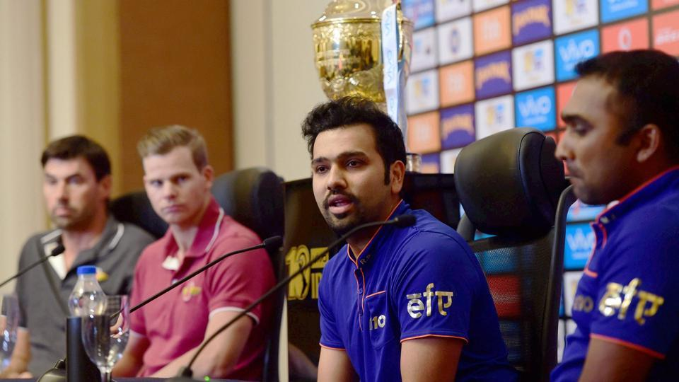 Mumbai Indians head coach Mahela Jayawardene (R)with his skipper Rohit Sharma address the press on the eve of the IPL 2017 final against Rising Pune Supergiant in Hyderabad.