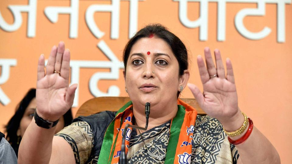 BJP leader Smriti Irani addresses a press conference at the party office in Lucknow on Saturday.