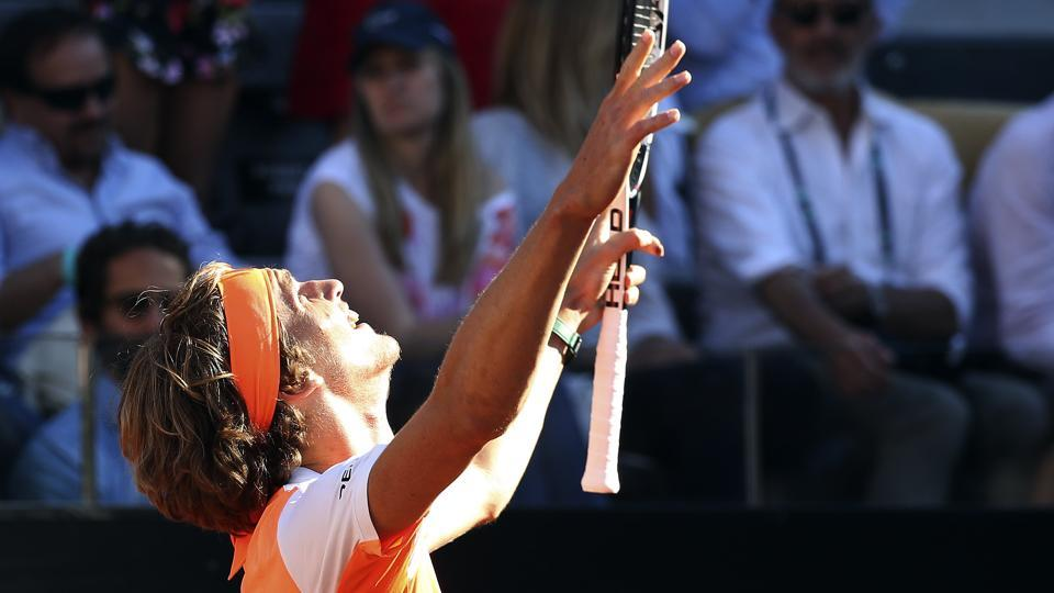 Alexander Zverev of Germany celebrates after beating Novak Djokovic in the final of the Rome Masters (Italian Open)ATPtournament in Rome on Sunday.