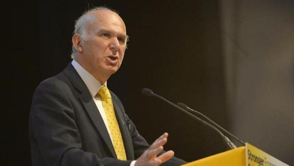 File photo of Vince Cable speaking at a Liberal Democrats conference in Glasgow, Scotland, in September 2013.