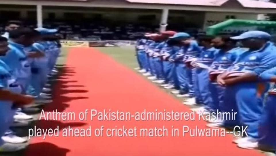 Anthem  of Pakistan-occupied Kashmir was purportedly played during a local cricket match in Jammu and Kashmir's Pulwama. The incident is being investigated.