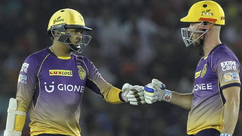 Sunil Narine registered the joint-fastest fifty in IPL, off just 15 balls while Chris Lynn smashed a fifty off 21 balls. The pair blasted 105 runs in six overs for Kolkata Knight Riders against Royal Challengers Bangalore, the highest-ever in powerplay. (PTI)
