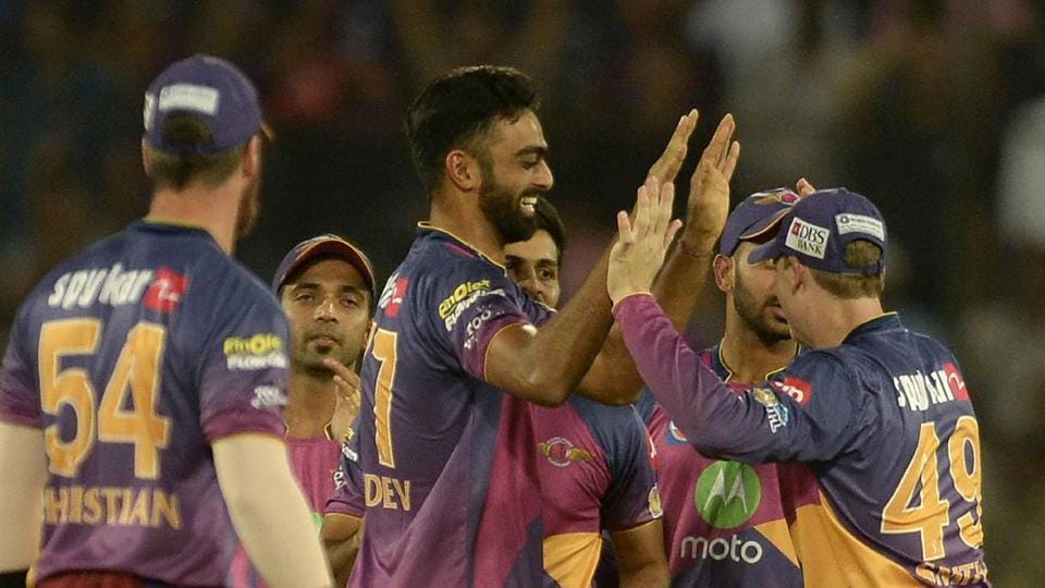 Rising Pune Supergiant bowler Jaydev Unadkat became the first bowler to bowl a triple-wicket maiden in the final over and also picked up 5/30, his second five-wicket haul in IPL which made him the only Indian to achieve the feat. (AFP)
