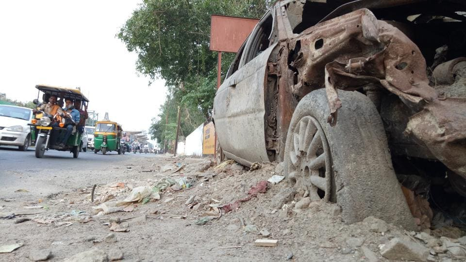 An unclaimed vehicle lying outside a police station in Lucknow.