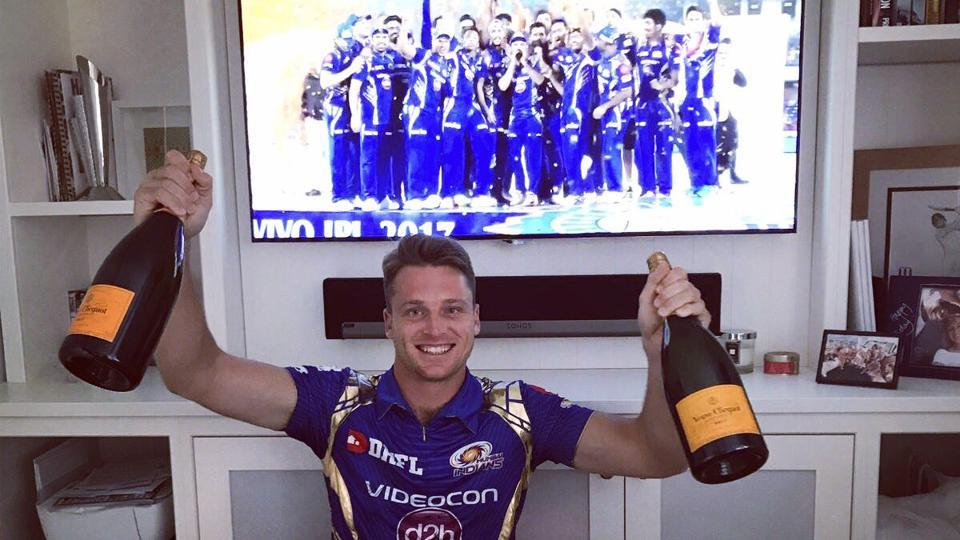 Jos Buttler had to leave the tournament early, but that didn't stop him from celebrating the victory. (Twitter/jos buttler)