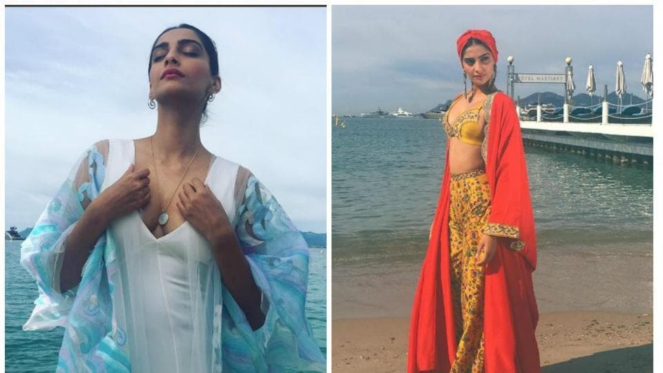 Sonam Kapoor wore an Abu Jani and Sandeep Khosla and Anamika Khanna while attending the photocall on the beach of Cannes.