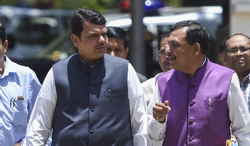 Chief Minister Devendra Fadnavis outside arrives at Vidhan Bhavan on Sunday.