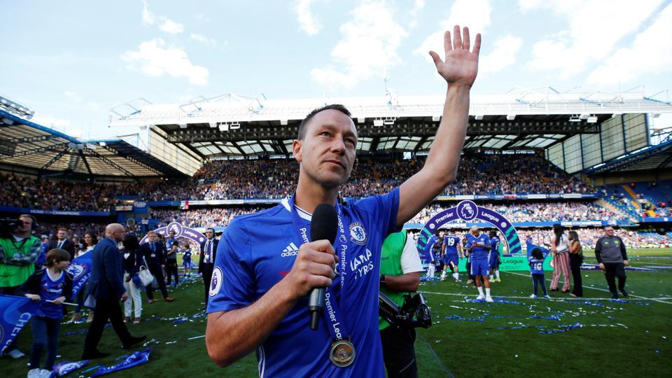 Terry gives a farewell speech to the Chelsea fans after playing his last game for the club. (Reuters)