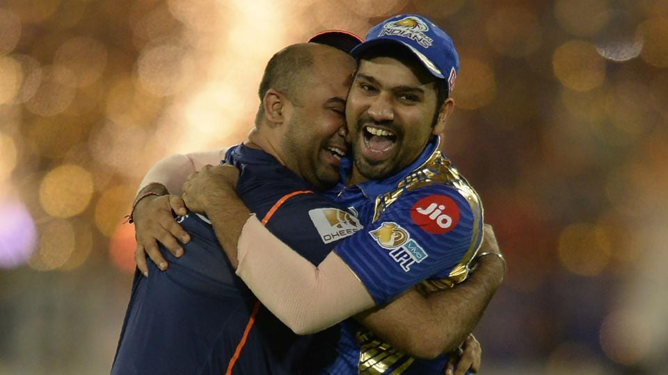 Mumbai Indians captain Rohit Sharma (R) was ecstatic after they defeated Rising Pune Supergiant in the IPL2017 final at the Rajiv Gandhi International Cricket Stadium in Hyderabad on Sunday.