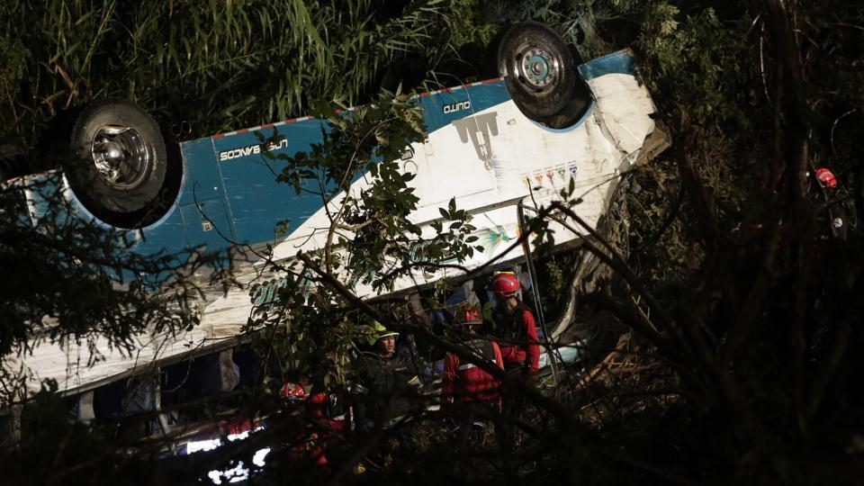 Bus plunges 90 meters off Mexican roadside, killing at least 17
