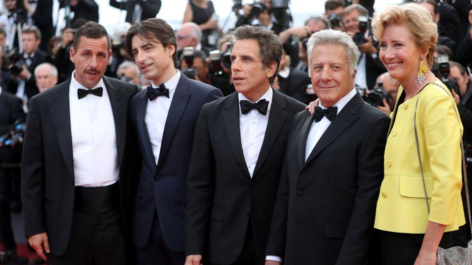 Adam Sandler, director Noah Baumbach, Ben Stiller, Dustin Hoffman and Emma Thompson pose as they arrive on May 21, 2017 for the screening of the film 'The Meyerowitz Stories at the 70th edition of the Cannes Film Festival in Cannes.