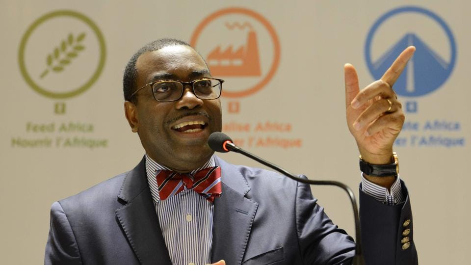 African Development Bank (AfDB) President Akinwumi Adesina addresses a press conference in Ahmedabad on May 20, 2017, ahead of the AfDB Annual General Meeting. The African Development Bank will hold its 52nd Annual General Meeting in Gujarat from May 22-26, the first time the event has been held in India. Some 4500 delegates including finance ministers and central bank governors from the organisations 54 member countries and 26 non-member countries are expected to attend.