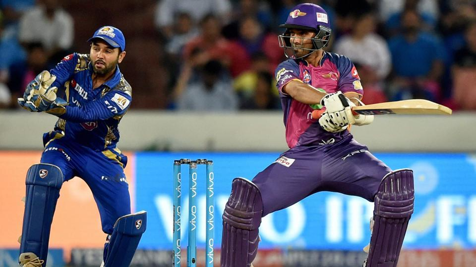 Rising Pune Supergiants Ajinkiya Rahane plays a shot during the IPL 2017 final. (PTI)