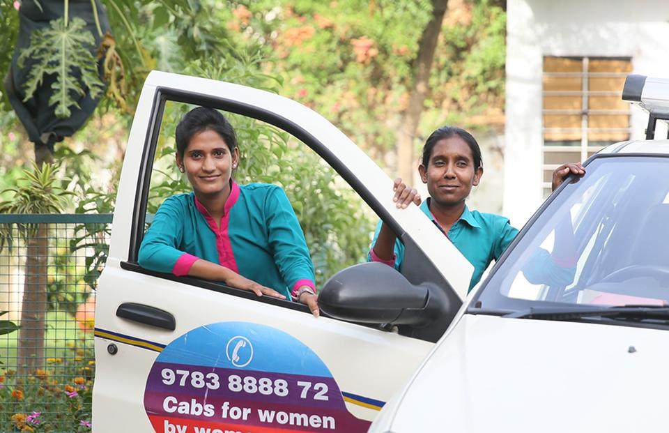 Mamta Verma  (left ) and Poonam Ghingar are among nearly 50 women chauffeurs in Jaipur.