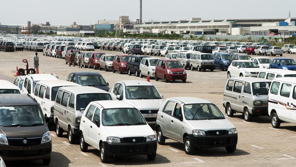 Maruti Suzuki cars at the company warehouse in Manesar, Haryana.