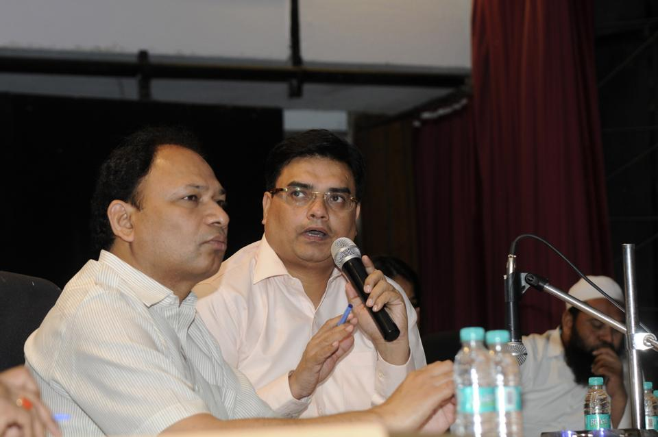 Noida authority officials at a meeting with builders and homebuyers meeting in Sector 6 on Monday.