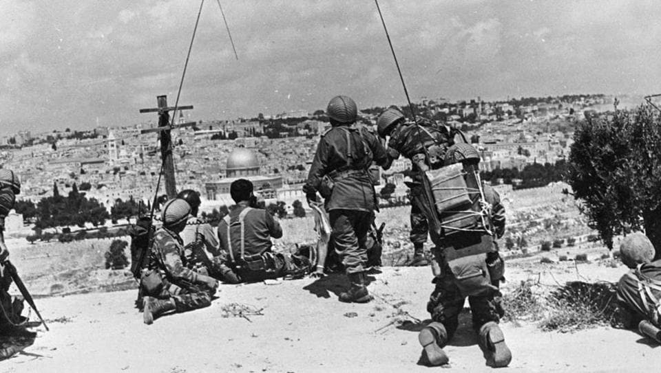 BEFORE: Israeli commander Motta Gur and his brigade observe the compound known to Muslims as Noble Sanctuary and to Jews as Temple Mount, from their command post on the Mount of Olives just prior to their attack of Jerusalem's Old City, during the 1967 Middle East War, in Jerusalem. (REUTERS)