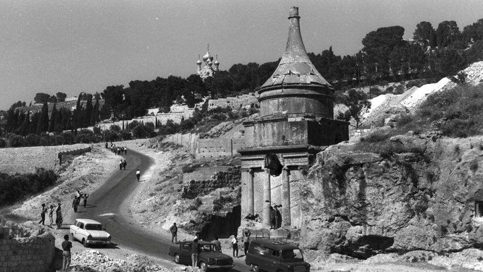 BEFORE: Avshalom's tomb and the Garden of Gethsemane are seen in Jerusalem. (REUTERS)