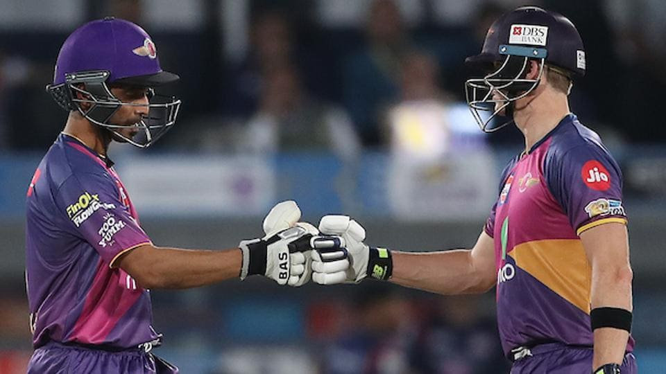 Ajinkya Rahane of Rising Pune Supergiant and Rising Pune Supergiant captain Steven Smith during the final of the 2017 Indian Premier League. (PTI)