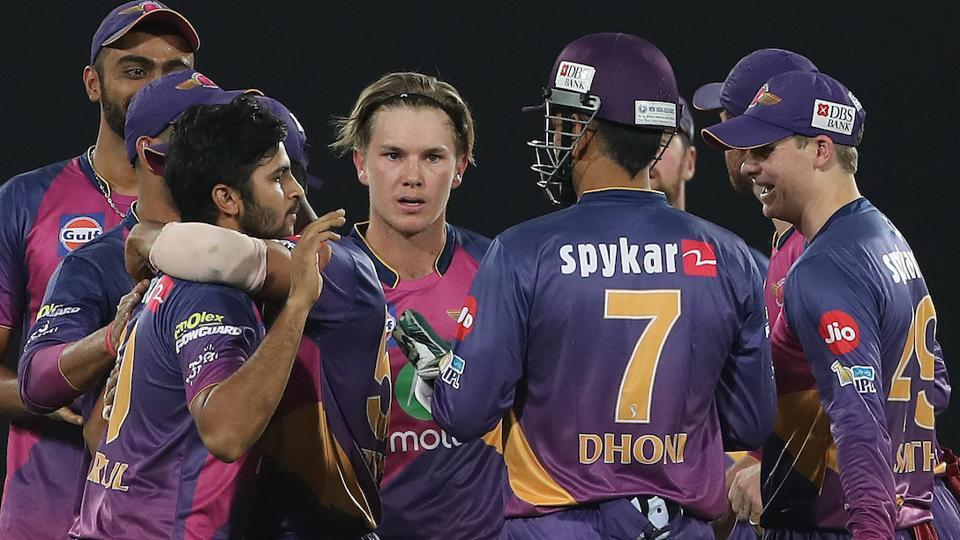 Adam Zampa of Rising Pune Supergiant celebrates the wicket of Mumbai Indians captain Rohit Sharma. (BCCI)