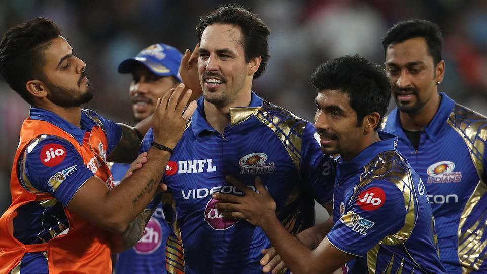 Mitchell Johnson of the Mumbai Indians celebrates the wicket of Rising Pune Supergiant captain Steven Smith. (BCCI)
