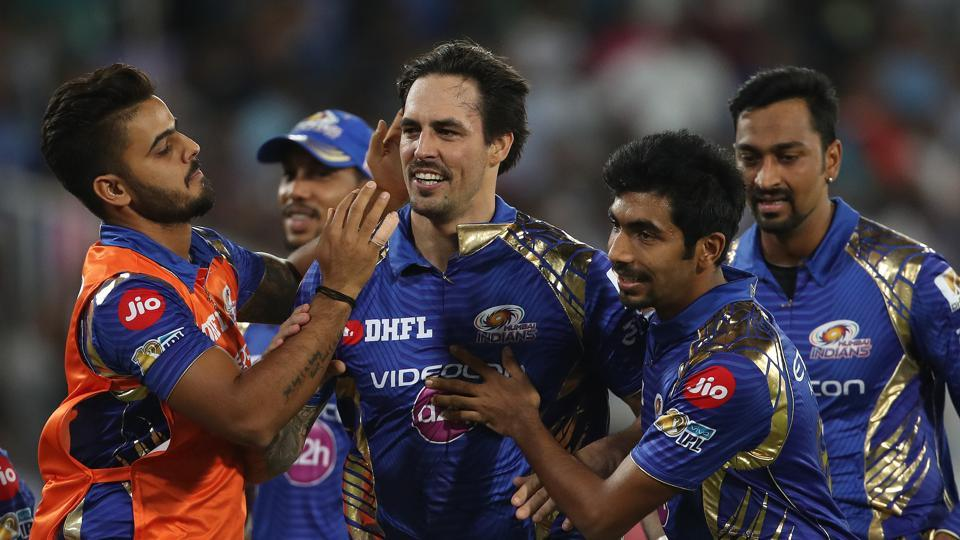 Mitchell Johnson celebrates with Mumbai Indians teammates after defeating Rising Pune Supergiant in  the final of the Indian Premier League (IPL) 2017.