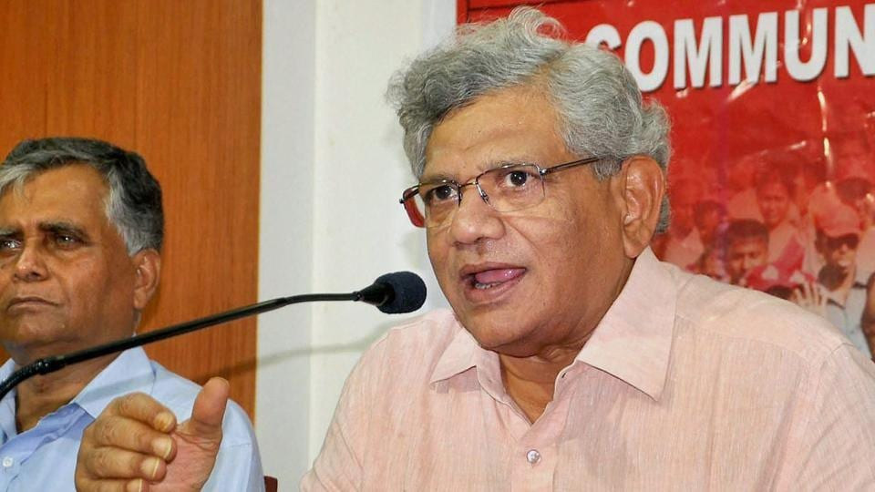 Sitaram Yechury during a press conference after the Tripura CPI(M) state committee meeting in Agartala.