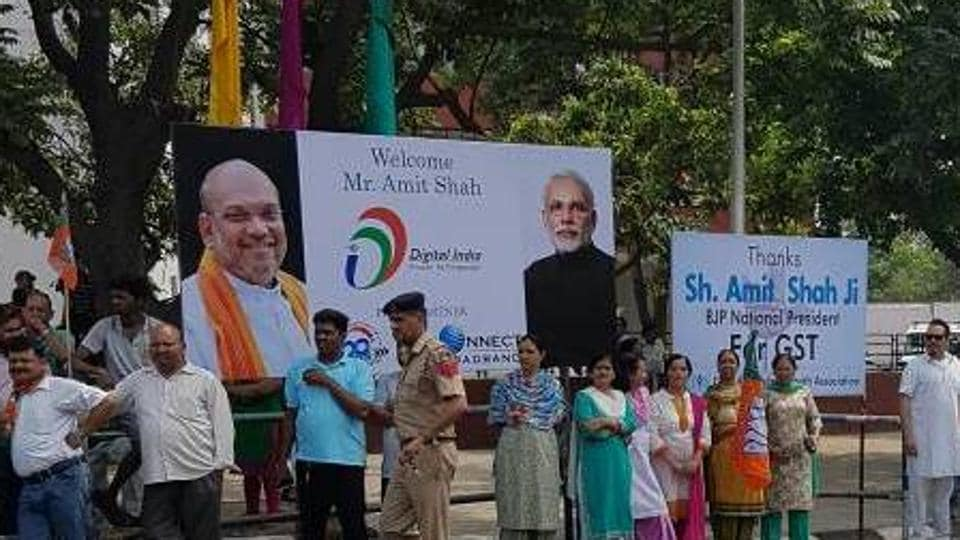 For Amit Shah's visit on May 20, the BJP took permission for six hoardings, but installed 40.