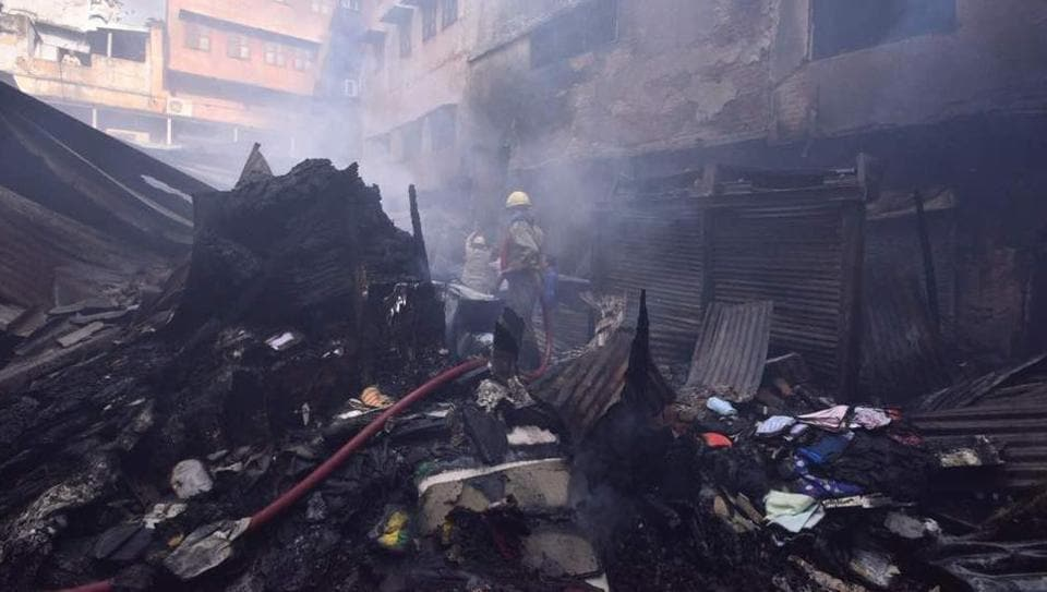 The fire control room said at around 9.35pm they were alerted about a fire in Katra Dulia that houses over a thousand wholesale garments shop.