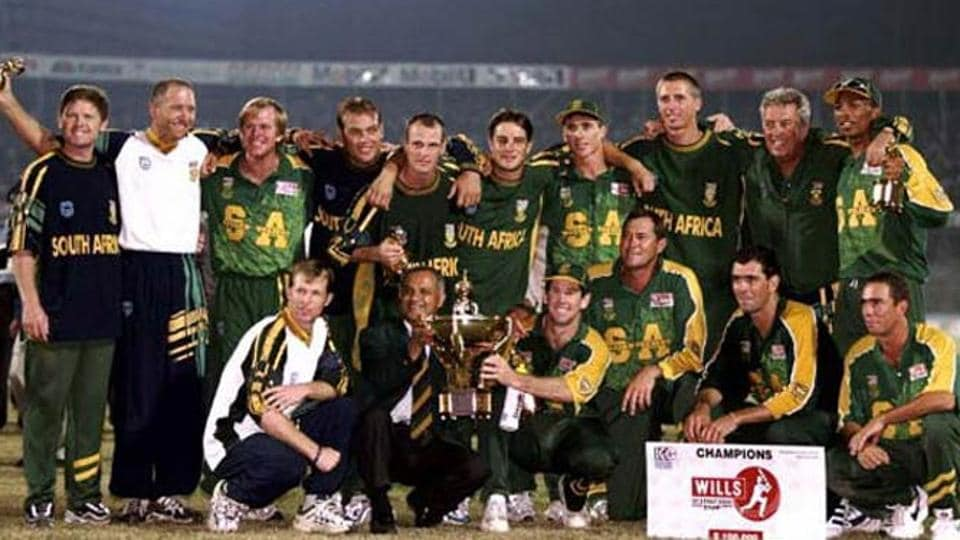 South Africa cricket team, the underachiever of world cricket, won their one and only ICC trophy at the inaugural edition of the ICC Champions Trophy, which was then christened ICC Knockout Trophy and popularly known as the Mini World Cup. They beat West Indies cricket team in the final in Dhaka, Bangladesh. (HT Photo)