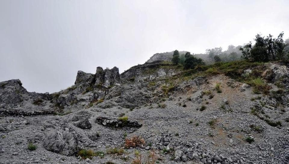 The British-era Lambi Dehar limestone mines near Mussoorie that have buried more than 50,000 miners over the years.