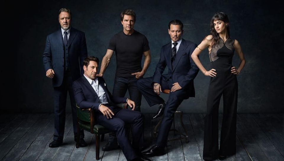 From left: Russell Crowe (Mr Hyde), Javier Bardem (Frankenstein's monster), Tom Cruise, Johnny Depp (Invisible Man), Sofia Boutella (The Mummy).