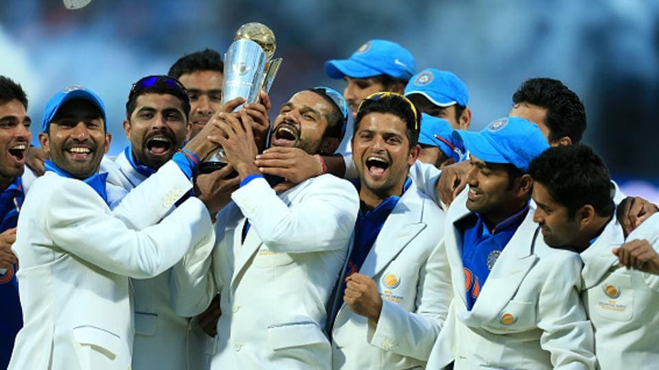 India cricket team, led by MS Dhoni, celebrate after winning the 2013 ICC Champions Trophy, beating England in the final in Birmingham. It was India's second triumph at Champions Trophy, having won it in 2002 (co-champs with Sri Lanka after the final was washed out). Virat Kohli-led India will be looking to defend their crown in Champions Trophy 2017, starting from June 1 to 18 in the UK. (Getty images)