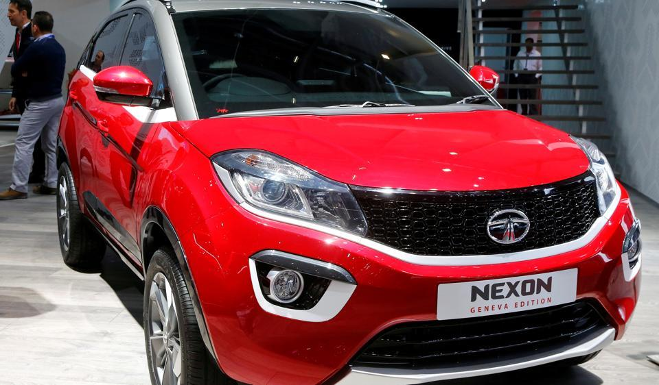 A Tata Nexon Geneva Edition car is seen during the 87th International Motor Show at Palexpo in Geneva, Switzerland.